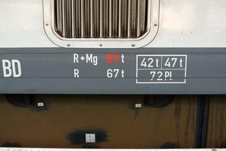 Gewichts-Beschriftung am Müngstener 628 513: Antriebseinheit