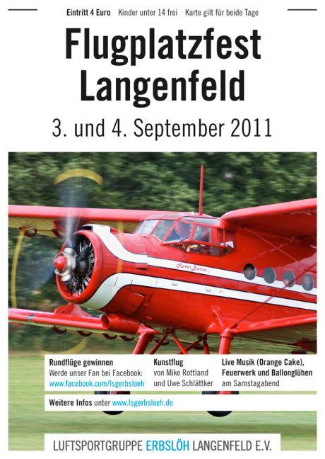 Ankündigung: Flugplatzfest Langenfeld, 3. und 4. September 2011