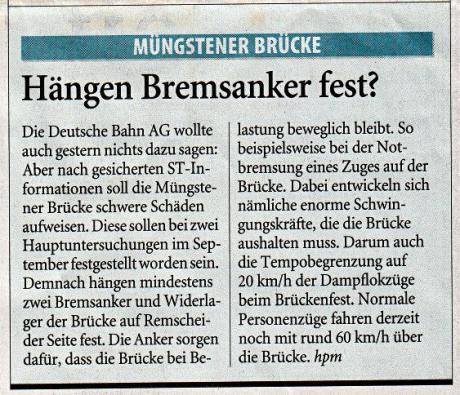 Hängen Bremsanker fest?: Quelle: Solinger Tageblatt vom 31.10.2009