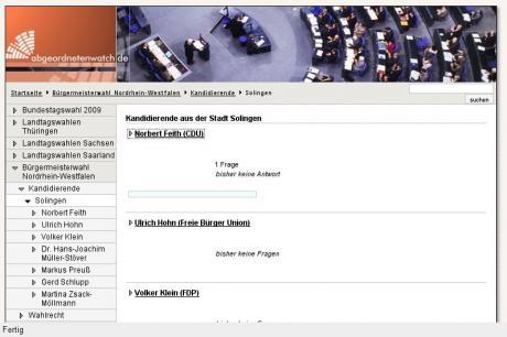 Volksvertreter: Screen www . abgeordnetenwatch . de