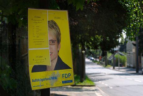 Recyceltes Wahlplakat der FDP