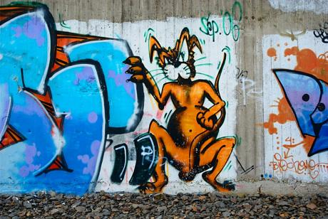 Aus die Maus: Graffito an der Korkenziehertrasse