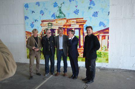 Eröffnungsfoto: Thomas Baumgärtel, Jürgen Raap (Journalist+Kunstkritiker) , Harald Klemm, Thomas Geisel (Düsseldorfer OB) und Dirk Balke (Organisator und Kurator), v.l.