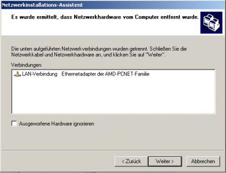 Screendump: Netzwerkinstallations-Assistent