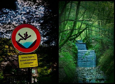Achtung Flutwelle: Bachbett nicht betreten - Lebensgefahr