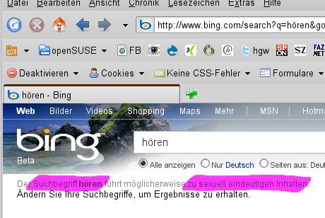 Screendump :: Suchergebnis der Suchmaschine: Bing