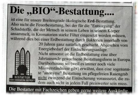 BIO-Bestattung: Anzeige im Solinger Käseblatt