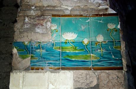 Kacheln im römischen Dampfbad: Städtische Badeanstalt Birker Straße