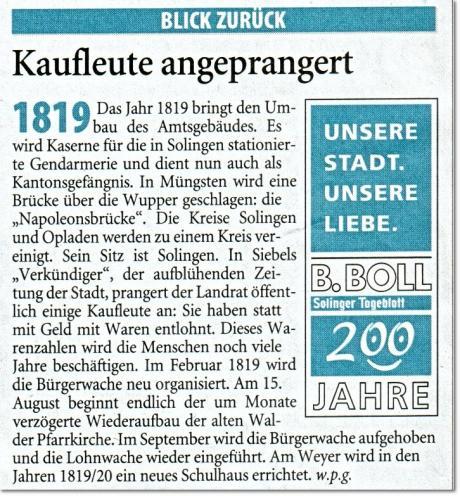"Kolumne: ""Blick zurück"" im Solinger Tageblatt vom 14.1.2009"