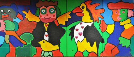 Kunst im Rathaustunnel - kleiner Ausschnitt: (Entwurf Jan Boomers, Umsetzung durch 250 Kinder und Jugendlichen im Jahre 1984)