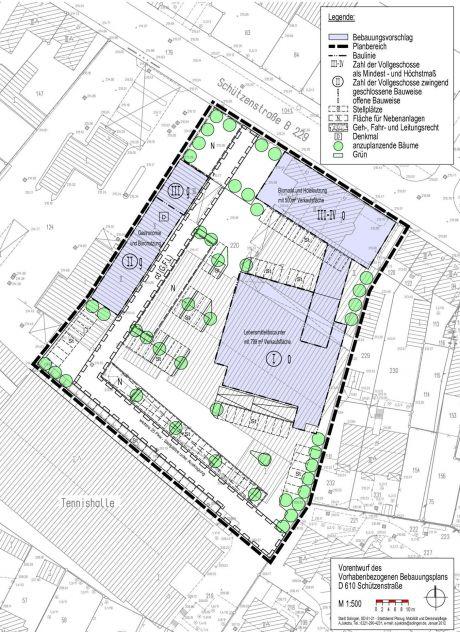 Vorentwurf vorhabenbezogener Bebauungsplan: Quelle: Stadt Solingen