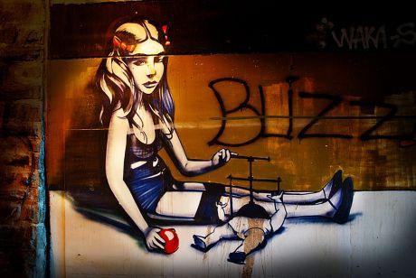Graffito an der Tunnelwand