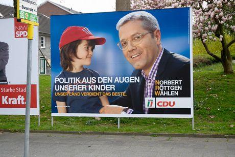Politik aus den Augen unserer Kinder: Plakat der CDU zur Landtagswahl in NRW 2012