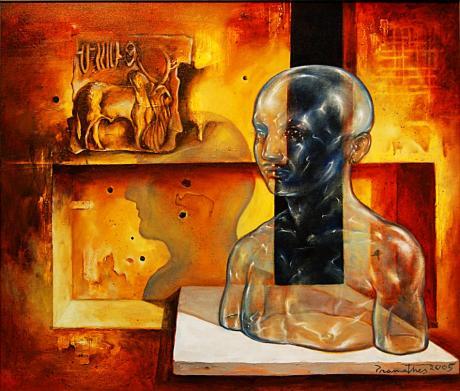 Pramathesh Chandra: ohne Titel, Öl auf Leinwand, 90×75cm