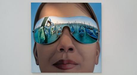 Angela in Venedig: Öl auf Leinwand, 100 cm x 100 xm, Ellen Dederichs