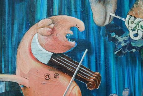 denkbarwahr und die vier suchenden: Acryl auf Leinwand, Dominik Sartor (Detail)