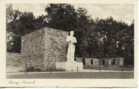 Solingen, Ehrenmal: Postkarte, gelaufen am 20.7.1939 von Solingen nach Schliersee