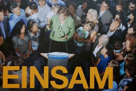 """Einsam: Detail aus dem Wahlplakat der CDU mit dem Slogan """"Gemeinsam für unser Land"""""""
