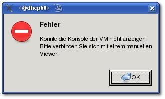 Error Message: XEN-Fehlermeldung