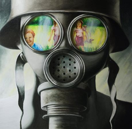 Im Spiegel der Gasmaske: Acryl auf Leinwand 2009, Nadine Gabriel - derzeit zu sehen im Atelier Künstlerpack in den Güterhallen, Solingen
