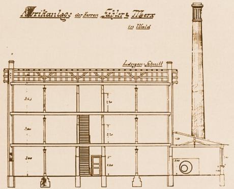 Längsschnitt der Dampfschleiferei Gebhardtstraße, 1888