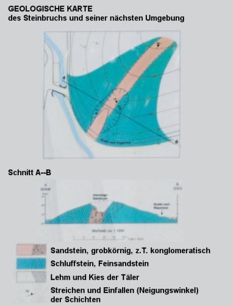 Geologische Karte: nach einer Zeichnung auf der Hinweistafel am ehemaligen Steinbruch an der Haasenmühle