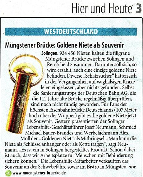 Müngstener Brücke: Goldene Niete als Souvenir