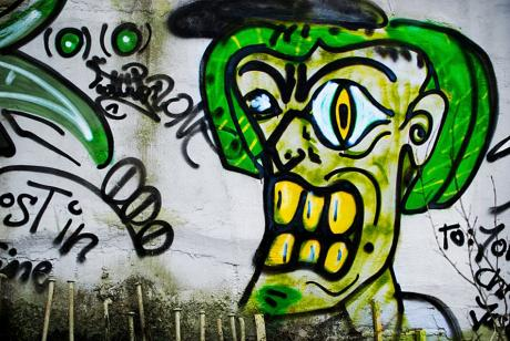 entsetzter Mann: Graffito im Solinger Norden