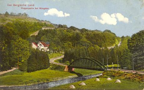 Brücke der RME an der Grunenburg: (Postkarte 1911 gelaufen, Robert Fürst, Burg a.d. Wupper)