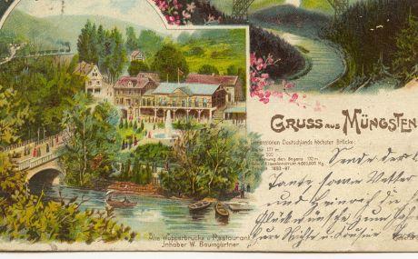 Gruß aus Müngsten: (Postkarte aus dem Jahre 1908)
