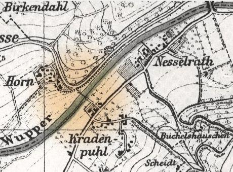 Lage der Juckelbrücke auf einer Karte aus dem Jahre 1927