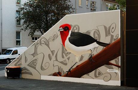 Graffito: an der Mauer zum Solinger Rathauseingang, Cronenberger Straße
