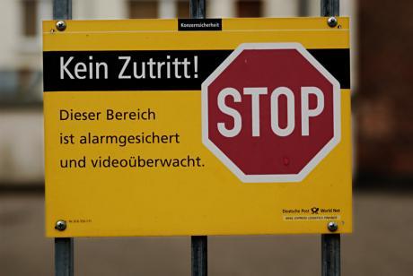 Kein Zutritt !: Dieser Bereich ist alarmgesichert und videoüberwacht.