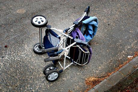 Ex-Kinderwagen: in der Pampa entsorgt
