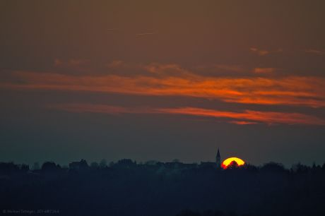 Sonnenuntergang am 16. März 2014, Skyline Widdert
