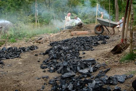 Kohleernte am Meiler: entnommene Holzkohle zum Abkühlen ausgelegt