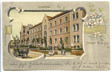 Solinger Krankenhaus an der Potsdamer Straße: gelaufen 4.10.1902, Verlag: Paul Lohmann, Solingen