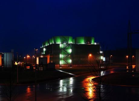 Angewärmter Regen: Kühlturm des GuD-Kraftwerkes der Firma Trianel in Hamm-Uentrop