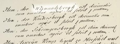 Ausschnitt aus dem Liber Decimarum 1488: Item, der Wynatzbergh est decimalis cum omnibus agris et solvit pullum