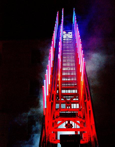 illuminierte Feuerwehrleiter