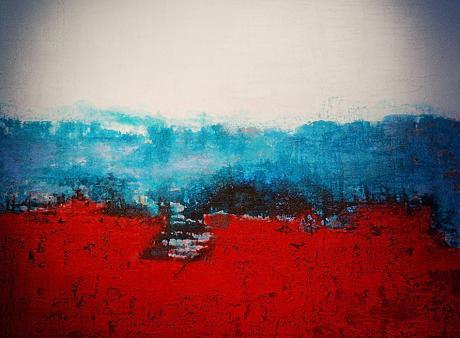 ohne Titel: Andrea Scherer, Acryl/Sand auf Leinwand, 120×100 cm