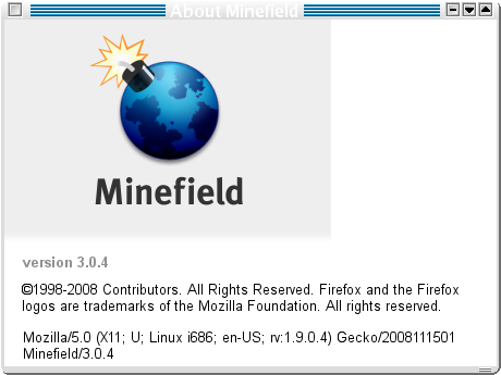 Minefield: Bildschirmfoto, About, Firefox 3.0.4