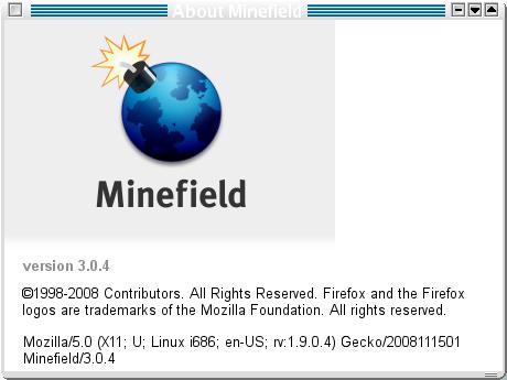 Minefield: Bildschirmfoto, About, Firefox 3.0.4