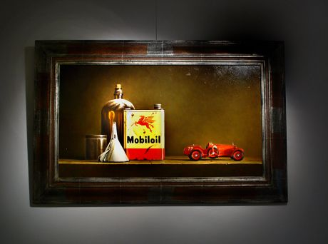 Ölkanister mit Spielzeugauto: 45 x 80 cm, Öl auf Holz - Stefaan Eyckmans (Belgien)