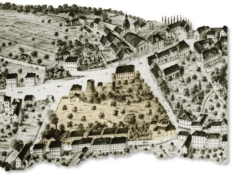 Mühlenplatz 1857: Zeichnung: Hermann Wüsteneck