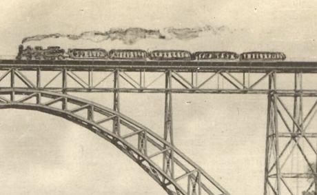 gefakter Zug auf der Müngstener Brücke