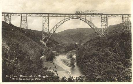 Postkarte Müngstener Brücke: 1929 gelaufen, Verlag unbekannt