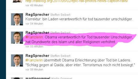 #Kanzlerin: Obama verantwortlich für Tod tausender Unschuldiger: (Twitter Screenshot)