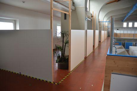 Balustrade: nach dem Umbau für die Flüchtlinge