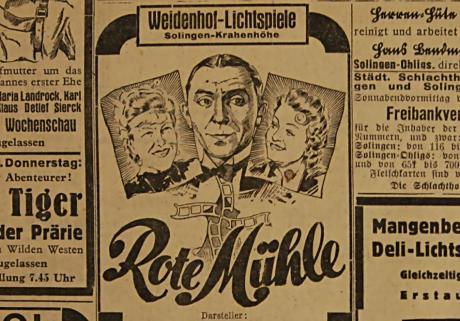 Rote Mühle: Kinoanzeige am 6. September 1940 in der Rheinischen Landeszeitung